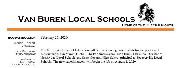 Finalists for Superintendent Search Announced