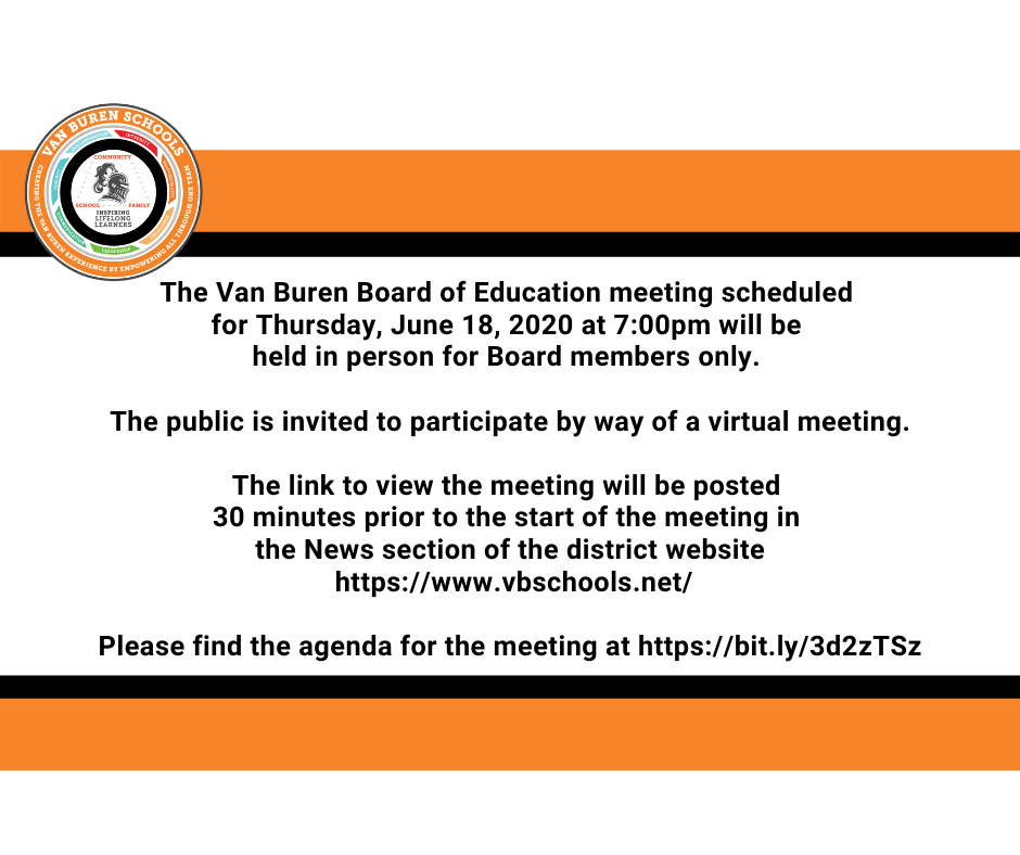 June 18, 2020 Board of Education Meeting Information