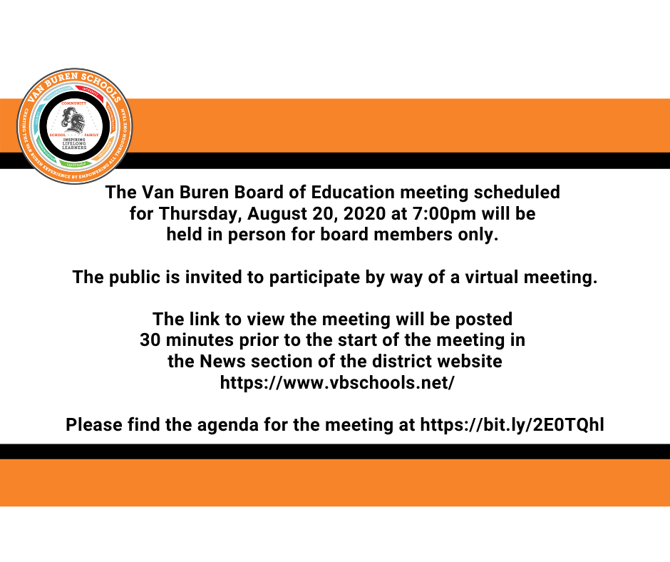 Thursday, August 20 Board of Education Meeting Notification