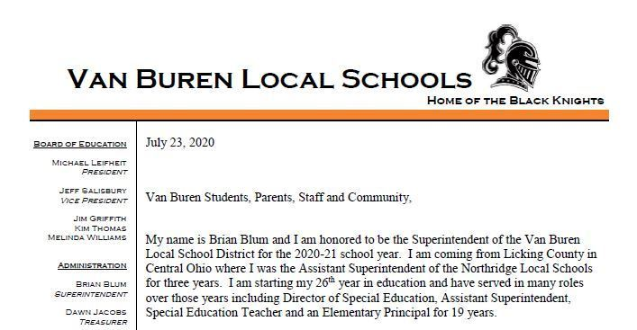 Message From Van Buren Superintendent, Mr. Blum
