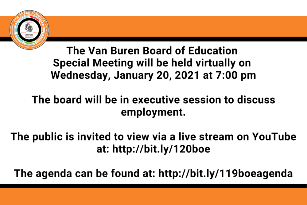 Van Buren Schools Board of Education Special Meeting - Wednesday 1/20
