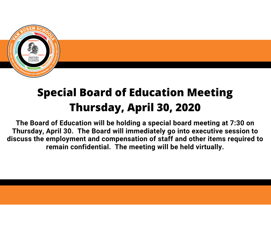 Special Board of Education Meeting - April 30, 2020