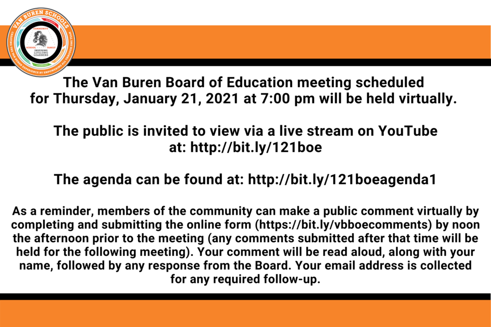 Van Buren Schools Board of Education  Meeting - January 2021