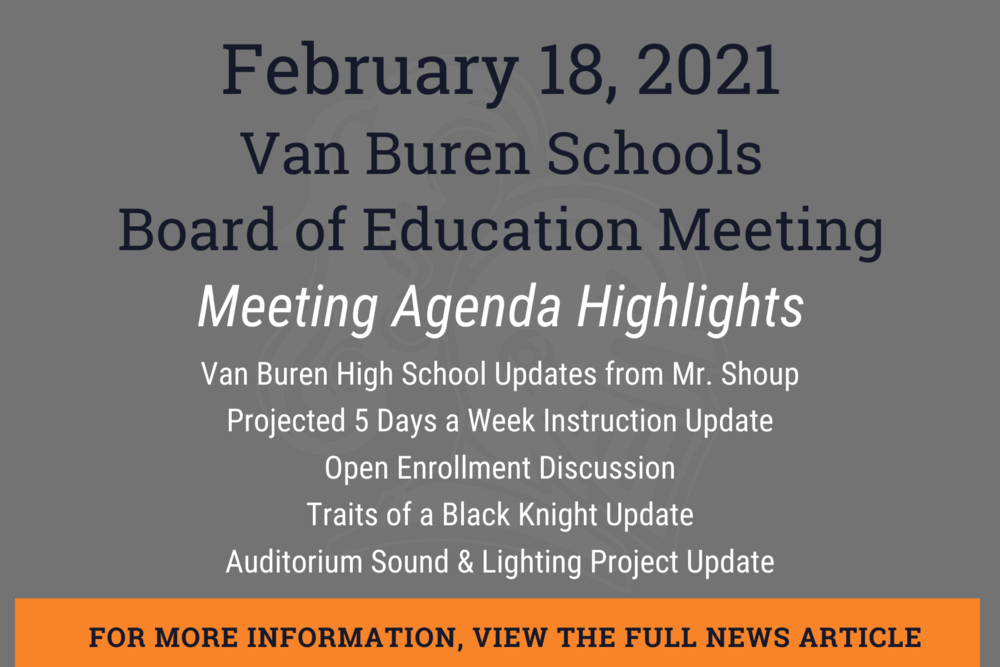 February 2021 Board of Education Meeting Information