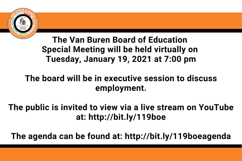 Van Buren Board of Education Special Meeting on Tuesday 1/19
