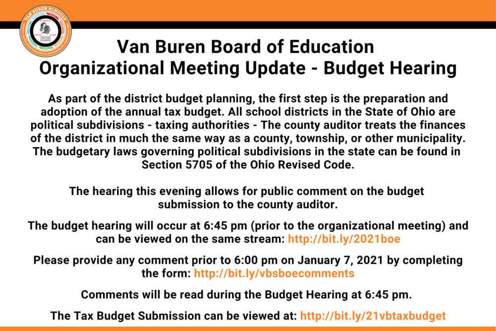 Van Buren Board of Education organizational Meeting Update - Budget Hearing