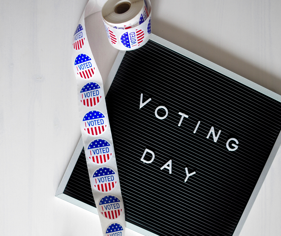 Voting Day Letterboard with I Voted stickers