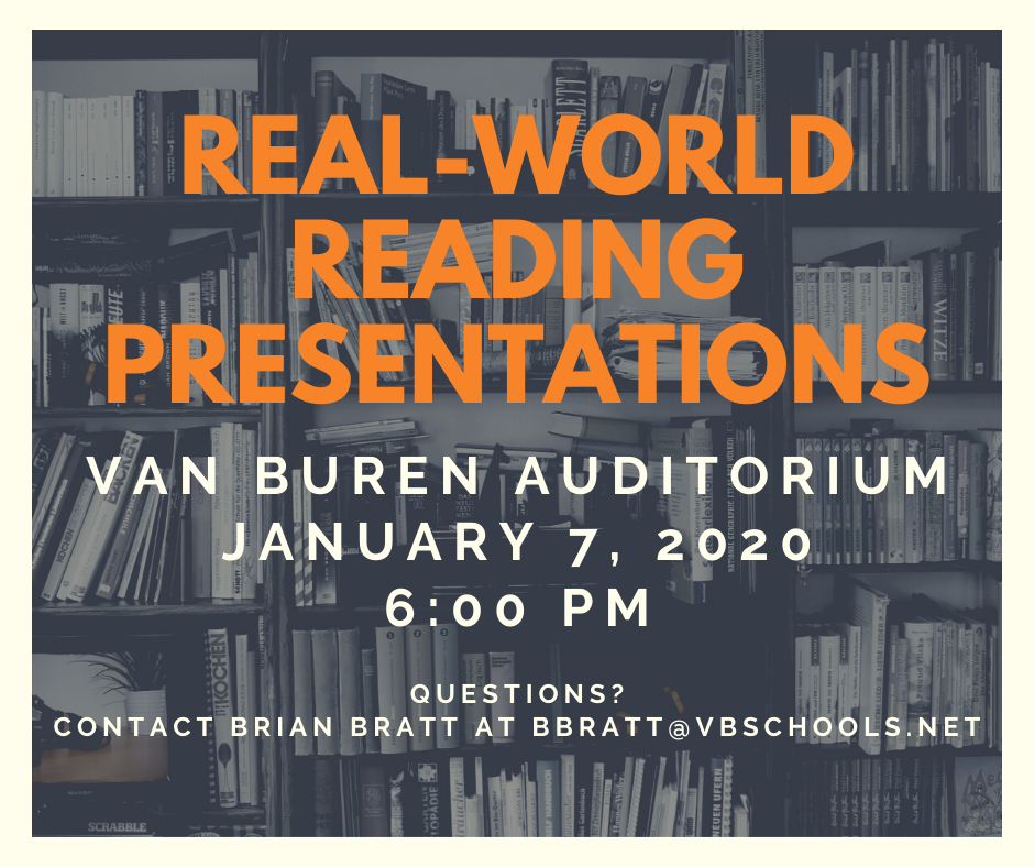 Real World Reading Presentations Flyer - Van Buren Auditorium - January 7, 2020 - 6:00 PM