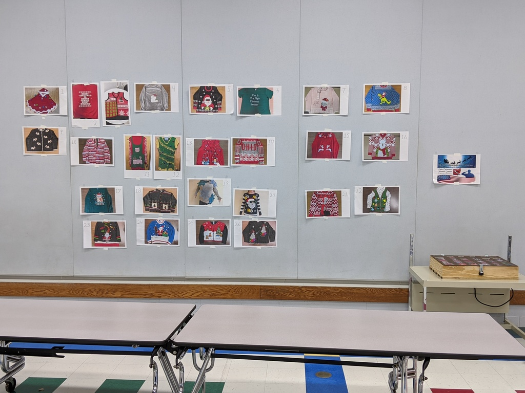 Elementary school cafeteria photo display